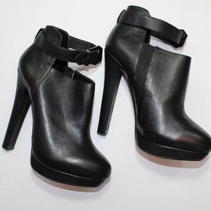 Zara Platform Black Leather Bootie w/ Ankle Strap